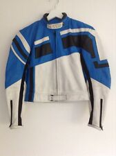 Spyke Moda Sport Blue White Black Motorcycle Jacket Size 44 Chest 34 Youth Child