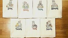 GARDEN GNOME DAYS OF THE WEEK EMBROIDERED FLOUR SACK DISH TOWELS