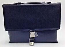 $624 Calvin Klein Mens Black Slim Messenger Brief Leather Briefcase Work Bag