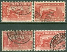 EDW1949SELL : MEXICO 1936 Scott #C75a. 4 Very Fine, Used stamps. Catalog $240.00