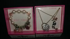 Betsey Johnson jewelry Heart w/Key Necklace & flower pearl braclet New in Box!
