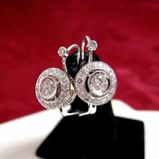 14K WHITE GOLD RUSSIAN STYLE CLASP 1.05TCW DIAMOND EARRINGS 5.4 GRAMS
