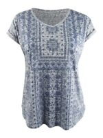 Style & Co. Women's Graphic Shirttail-Hem Top (L, Aztec Strip)