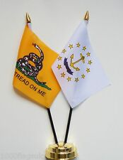Gadsden & Rhode Island Double Friendship Table Flag Set