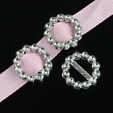 100pcs Round Buckle Ribbon Slider for Wedding Invitation Embellishment Decor