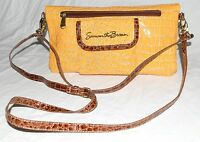 Samatha Brown Gold & Brown Croc Embossed Faux Patent Leather Crossbody Bag NWOT