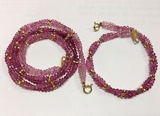 A SET OF GOLD BEADS BRACELET & NECKLACE WITH PINK SWAROVSKI BEADS THAI HANDMADE