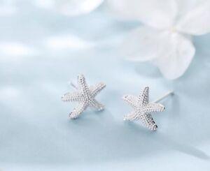 Ohrringe Ohrstecker 925 Silber diamantiert Seestern(10*11mm) Meer Strand NEU
