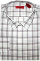 NEW HUGO BOSS RED LABEL WHITE & BROWN PLAID SLIM FIT DRESS SHIRT 17.5