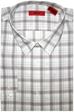 NEW HUGO BOSS RED LABEL WHITE & BROWN PLAID SLIM FIT DRESS SHIRT 17.5