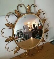 Ancien miroir Soleil en métal doré feuillage légèrement bombé année 70