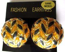 Belles boucles d'oreilles bouton clip bijou rétro couleur or noir marron  3538