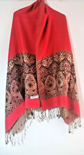 LARGE RED & GOLD PASHMINA SCARF/SHAWL/WRAP WITH BOLD BORDER PATTERN & TASSELS