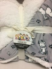 """Peanuts Snoopy & Woodstock TWIN FLEECE & SHERPA Blanket 60""""x90"""" Berkshire"""