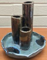 Vintage Multi Spout Ceramic Vase Vessel Retro Mid Century Modern Ikebana Signed