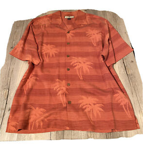 Mens Tommy Bahama Silk Button Front SS Shirt Sunset Orange Palms Striped Sz M