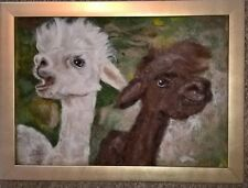 needle felt baby alpacas wool picture perfect gift original artwork new