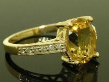 Citrine Solitaire with Accents Yellow Fine Rings