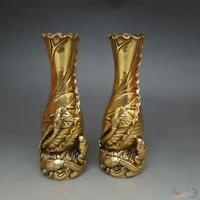 Chinese Royal fengshui Brass Fish Lotus Flower bottle Noble auspicious vase