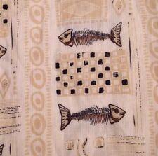 Joe Marlin Outfitter Mens Large Camp Button Up Shirt Fish Skeleton Print Fishing