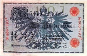 1908 Germany / German Empire Kaiser Huge 100 Mark Banknote RED SEAL