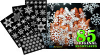 85 x CHRISTMAS SNOWFLAKES STICKERS HOME WINDOW PARTY DECORATIONS DECOR REUSABLE