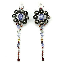 NATURAL TANZANITE MOTHER OF PEARL RUBY  & SAPPHIRE 925 STERLING SILVER EARRINGS
