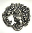 Gibson Girl Chunky Vintage Art Noveau Pewter 2 1/4? Brooch Pin