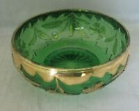 "U.S. Glass Delaware Emerald Green 4"" Round Berry Bowl w/ Gold Accent"