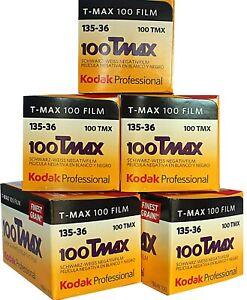 5 x KODAK TMAX 100 35mm 36exp  B&W CAMERA FILM  FRESH - by 1st CLASS POST
