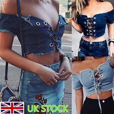 Women Off The Shoulder Bandeau Tops Denim Jean Crop Top Lace Up Party Fit Blouse