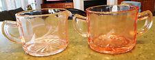 Vintage PINK DEPRESSION Set CREAMER & SUGAR etched Vtg Glass
