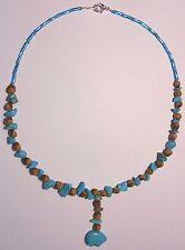 "Navajo Ghost Cedar Bead Juniper Berry Turquoise Bear 18"" Choker by R. Manygoats"