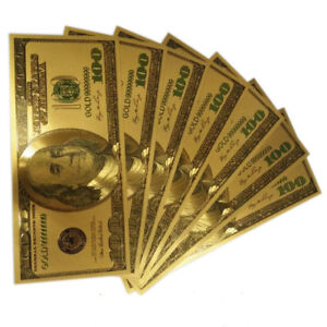 5pcs Novelty Gold Plated Color money US Older Version 100 Dollar Banknote bills