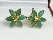 14k Solid Yellow Gold Cluster Flower Stud Earrings, Natural Emerald 2.23 Grams