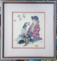 "NORMAN ROCKWELL ""The Pride of Parenthood"" Matted & Framed Vintage Art Print"
