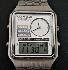 Vintage 1982 Bulova Caravelle Dual Analog LCD Watch
