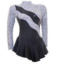 Ice Skating Dress- Ripple Black/White Metalic + Lycra (S108)