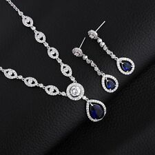 18K White Gold Sapphire Blue Crystal Dangle Earring and Necklace Set  247