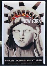"""New York Vintage Travel Poster 2"""" X 3"""" Fridge Magnet. Pan Am Airlines NYC"""