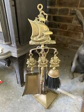 Fireplace Companion Set Brush Poker Tongs Shovel Old Brass Ship