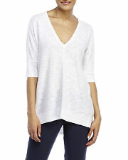 $178 Eileen Fisher Deep V-Neck Organic Linen Tunic Top White Extra Small XS