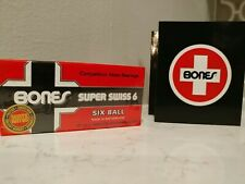 BONES SUPER SWISS 6 Skateboard Bearings 8-Pack 8mm Precision Size 608 (Std) NEW!