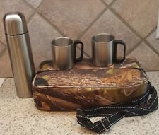 Camo Cloth Shoulder Pack Bag with Metal Insulated Beverage Bottle 2 Cups Hiking