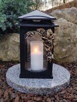 Lanterne Funéraire Socle Lampe pour Tombes Lumière Décoration Roses Bougie