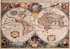 1632 World Map Antique Vintage Reproduction Parchment Poster Print, 13x19