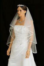 """Handmade 2T Bridal White / Ivory Fingertip Length 1/4"""" Ribbon Edge Wedding Veil"""
