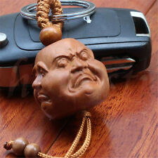 Four face  Buddha Head Statue JujubeTree keyring of Pleasure Anger Sorrow Joy