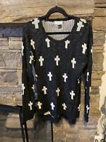 Pink.Rose Women's Black & White Soft Pullover Sweater Size Large Cross Pattern