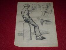 [DESSIN PRESSE BD] MARCEL THIERRY DESSIN ORIGINAL Crayon Croquis Vagabond 7 1930